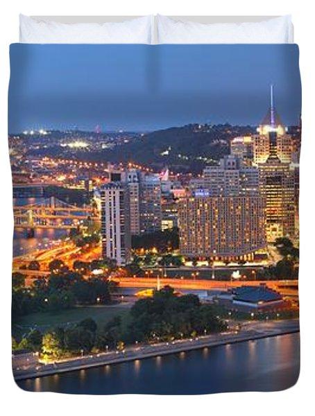 Bridge To The Pittsburgh Skyline Duvet Cover by Adam Jewell