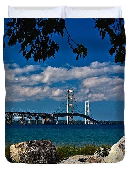 Bridge To The U.p. Duvet Cover by Nick Zelinsky