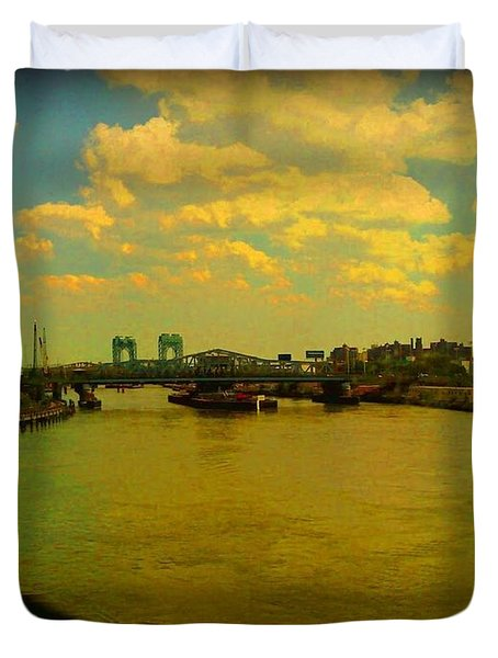 Duvet Cover featuring the photograph Bridge With Puffy Clouds by Miriam Danar