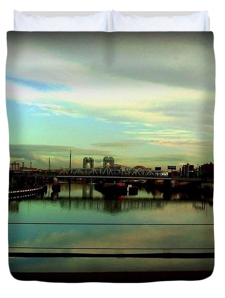 Duvet Cover featuring the photograph Bridge With White Clouds by Miriam Danar