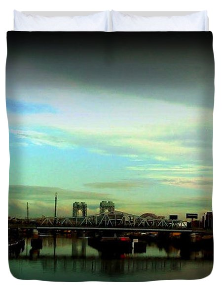 Duvet Cover featuring the photograph Bridge With White Clouds Vignette by Miriam Danar