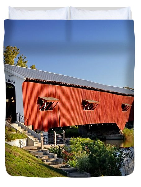 Bridgeton Covered Bridge 3 Duvet Cover by Marty Koch