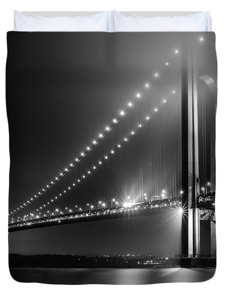 Bridging Verrazano Narrows Duvet Cover by Mihai Andritoiu