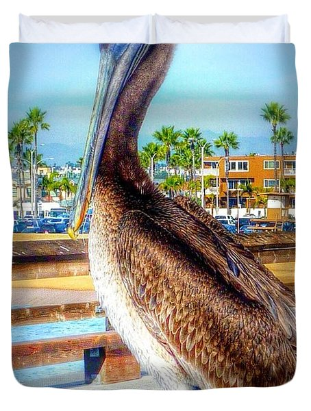 Brief Pelican Encounter  Duvet Cover