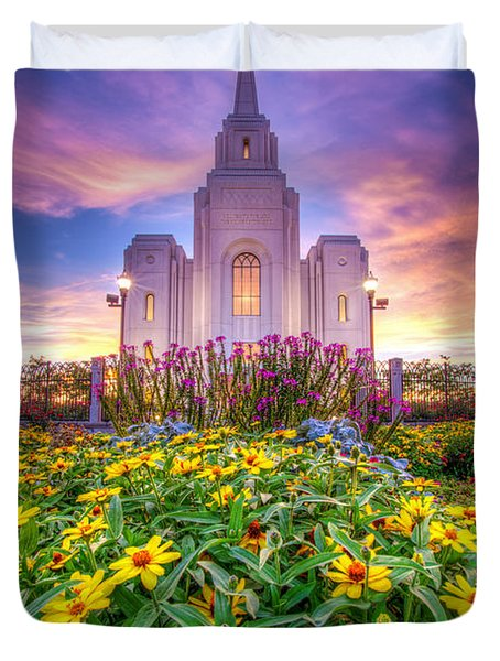 Brigham City Temple Duvet Cover