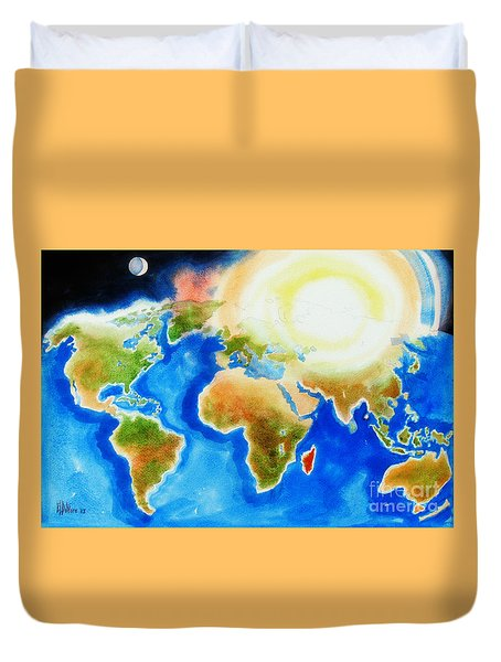 Bright Blue World Map In Watercolor With Sunshine And Moon  Duvet Cover by Kip DeVore