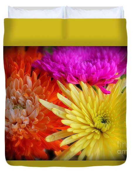 Bright Chrysanthemums Duvet Cover by The Art of Alice Terrill