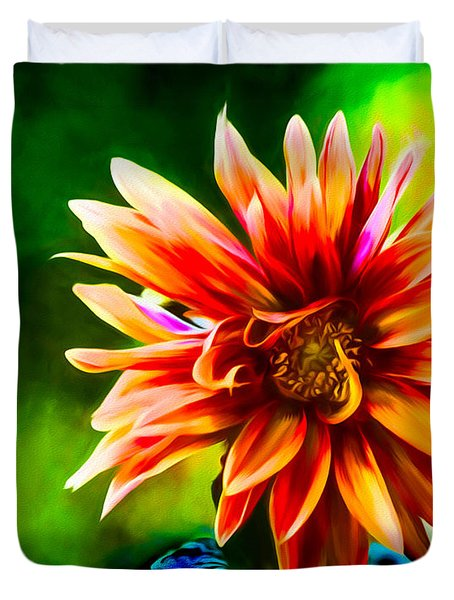 Bright Dahlia  Duvet Cover by Ken Frischkorn