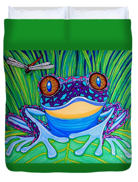 Bright Eyed Frog Duvet Cover