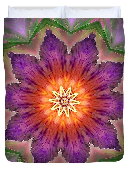 Duvet Cover featuring the digital art Bright Flower by Lilia D