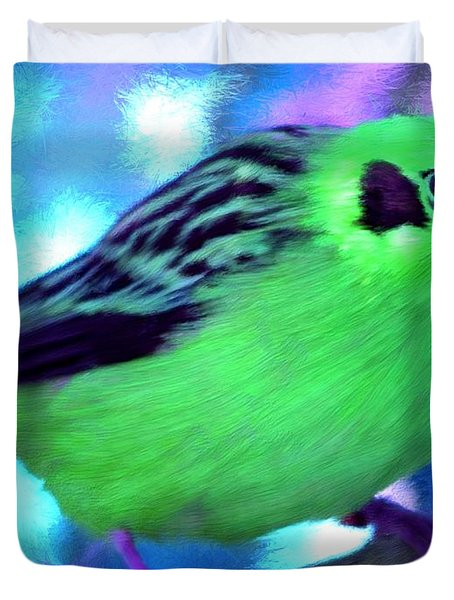 Bright Green Finch Duvet Cover by Bruce Nutting