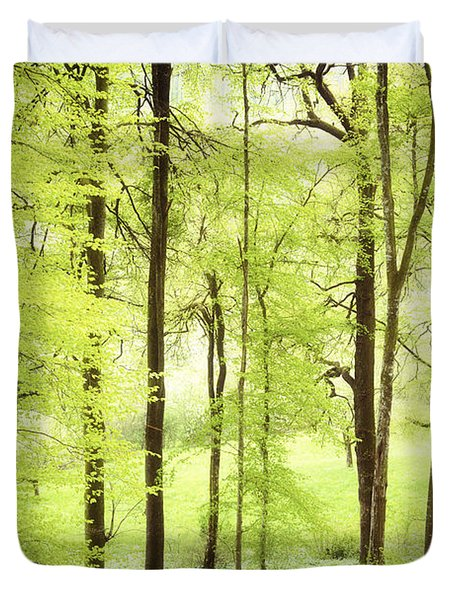 Bright Green Forest In Spring With Beautiful Soft Light  Duvet Cover by Matthias Hauser