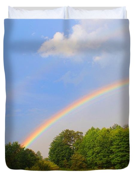 Duvet Cover featuring the photograph Bright Rainbow by Kathryn Meyer