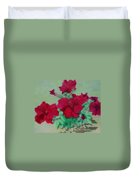 Red Flowers Art Brilliant Petunias Bright Floral  Duvet Cover