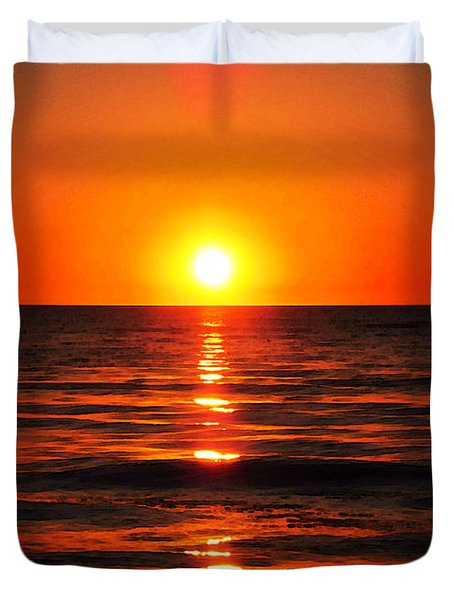 Bright Skies - Sunset Art By Sharon Cummings Duvet Cover