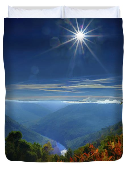 Bright Sun In Morning Cheat River Gorge Duvet Cover