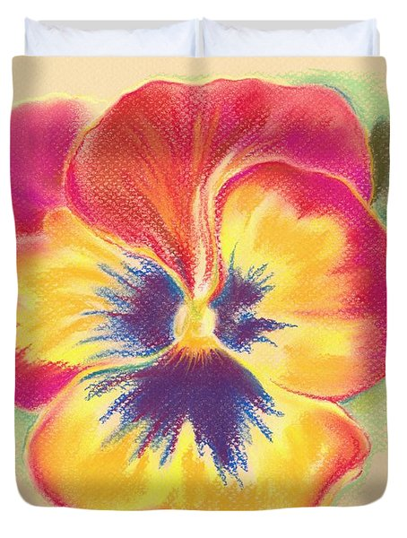 Duvet Cover featuring the pastel Brightly Colored Pansy by MM Anderson