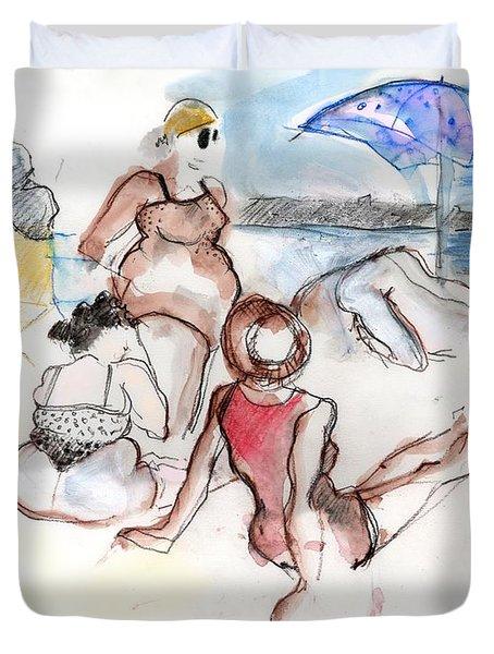 Brighton Beach On A Windy Day Duvet Cover