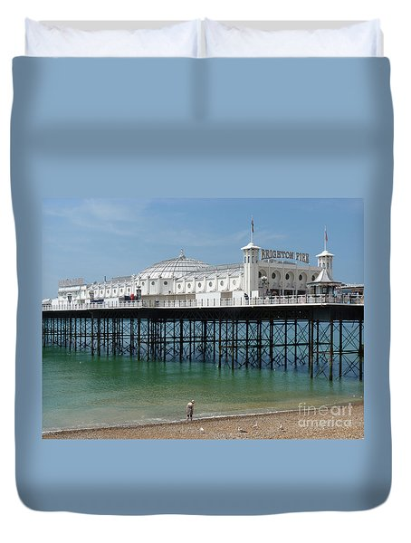 Duvet Cover featuring the photograph Brighton Pier - Sussex By The Sea by Phil Banks