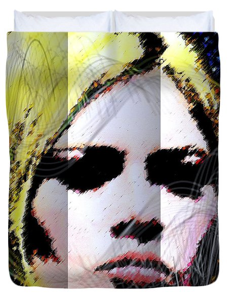 Duvet Cover featuring the digital art Brigitte Bardot by Daniel Janda