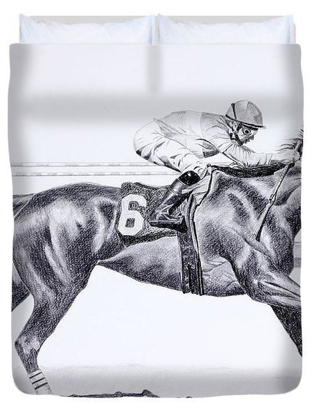 Bring On The Race Zenyatta Duvet Cover by Joette Snyder