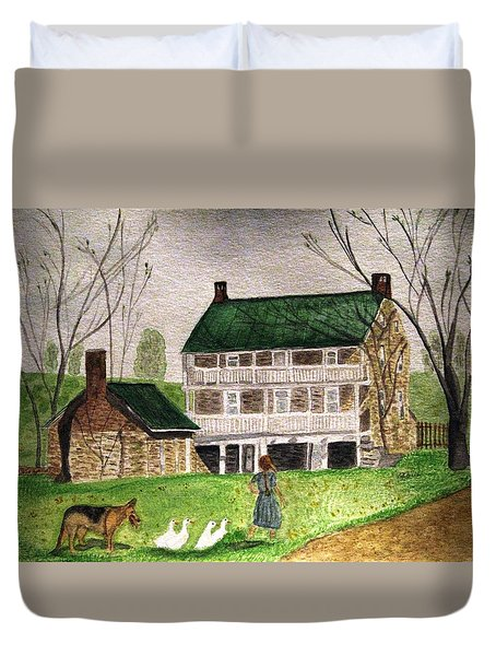 Bringing Home The Ducks Duvet Cover by Angela Davies