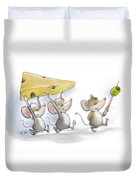 Bringing In The Cheese With Olives Duvet Cover