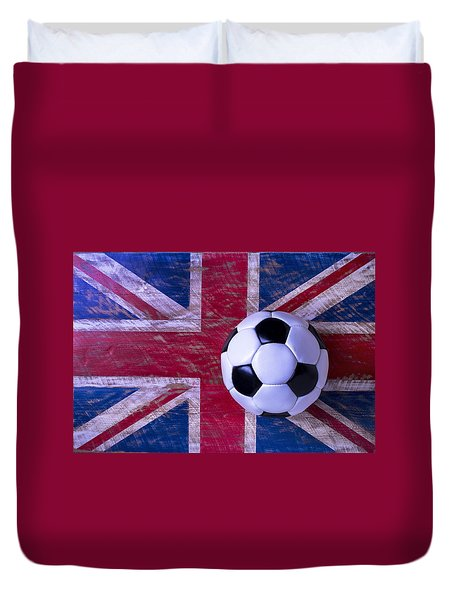 British Flag And Soccer Ball Duvet Cover