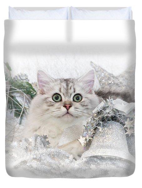 British Longhair Cat Christmas Time II Duvet Cover by Melanie Viola