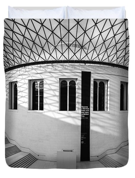 Duvet Cover featuring the photograph British Museum Black And White by Matt Malloy