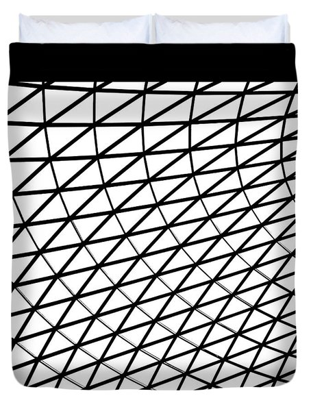 Duvet Cover featuring the photograph British Museum Geometry by Rona Black