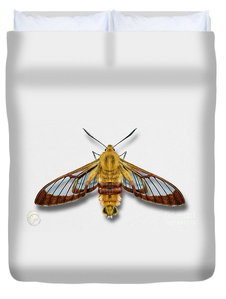Broad-bordered Bee Hawk Moth Butterfly - Hemaris Fuciformis Naturalistic Painting -nettersheim Eifel Duvet Cover
