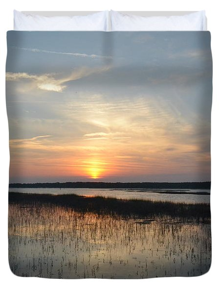Duvet Cover featuring the photograph Broad Creek Sunset II by Carol  Bradley