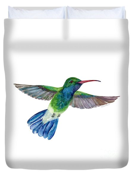 Broadbilled Fan Tail Hummingbird Duvet Cover by Amy Kirkpatrick