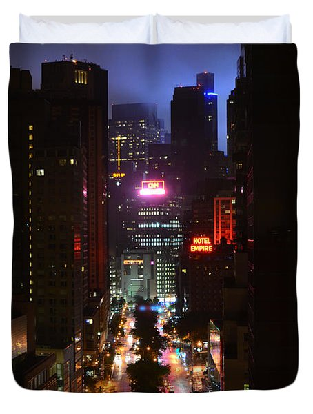 Broadway And 72nd Street At Night Duvet Cover by Deprise Brescia