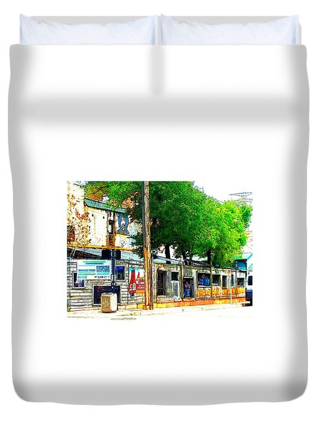 Broadway Oyster Bar With A Boost Duvet Cover