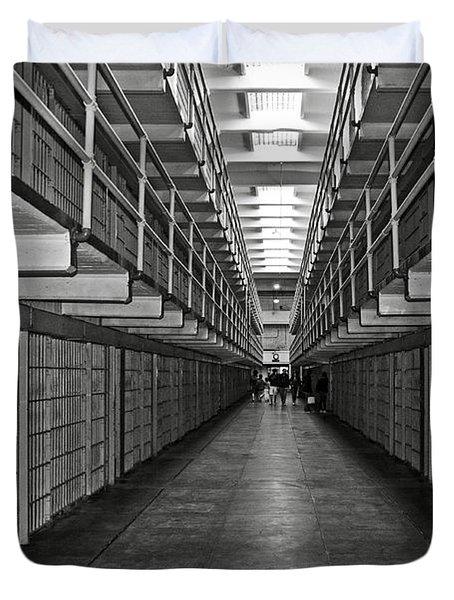 Broadway Walkway In Alcatraz Prison Duvet Cover