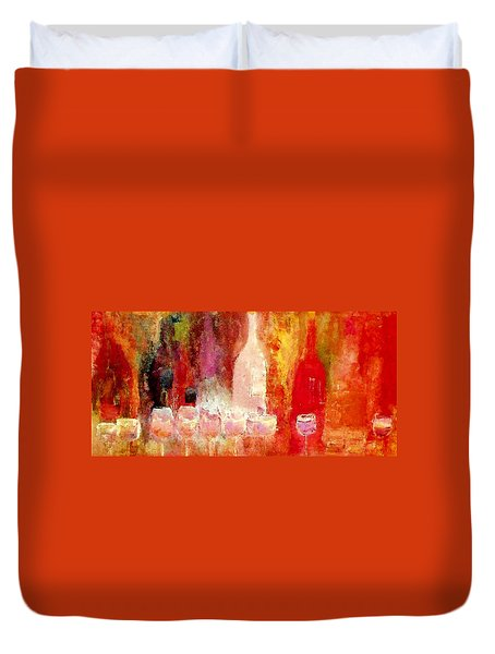 Duvet Cover featuring the painting Broadway Wine Chorus  by Lisa Kaiser