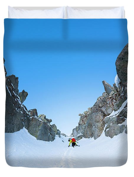 Brody Leven Climbing Wasatch Mountains Duvet Cover