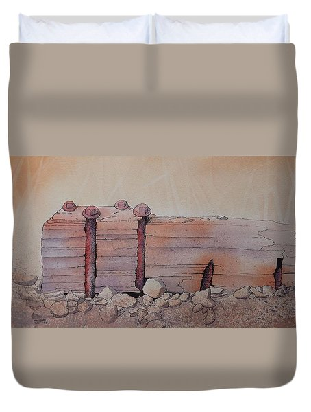 Duvet Cover featuring the painting Broken Dock Seward Alaska by Richard Faulkner