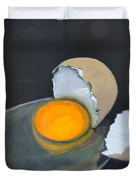 Duvet Cover featuring the painting Broken Egg by Richard Le Page