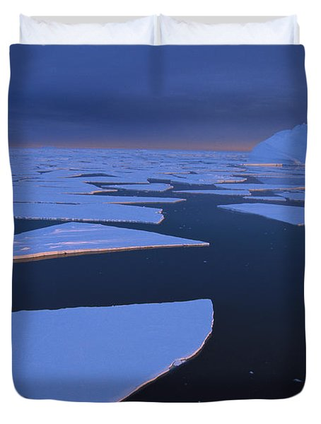 Broken Fast Ice Under Midnight Sun Duvet Cover by Tui De Roy