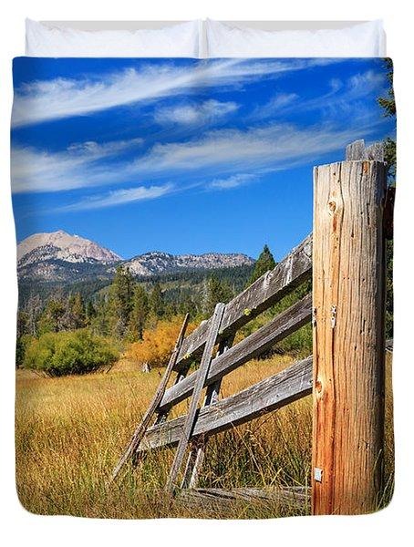 Broken Fence And Mount Lassen Duvet Cover