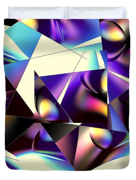 Duvet Cover featuring the digital art Broken Glass by Greg Moores