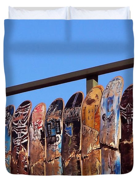 Duvet Cover featuring the photograph Broken Skateboard Fence by Art Block Collections