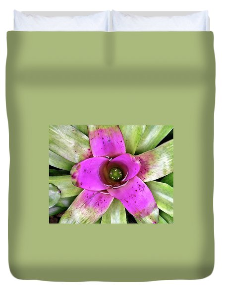Duvet Cover featuring the photograph Bromeliad by Allen Beatty