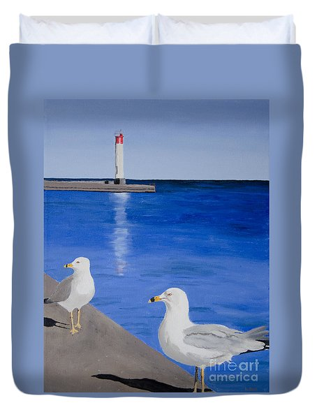 Bronte Lighthouse Gulls In Oil Duvet Cover