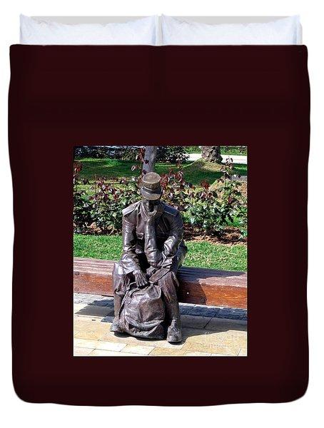 Bronze Mailman Resting Duvet Cover