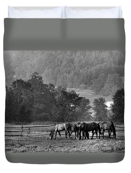 Duvet Cover featuring the photograph Broodmares by Joan Davis