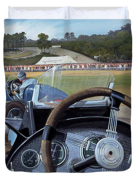 Brooklands - From The Hot Seat Duvet Cover by Richard Wheatland